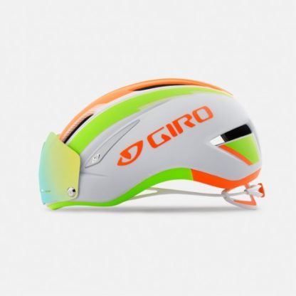 Giro Air Attack Shield Cycling Helmet | Matte White/Flame/Lime
