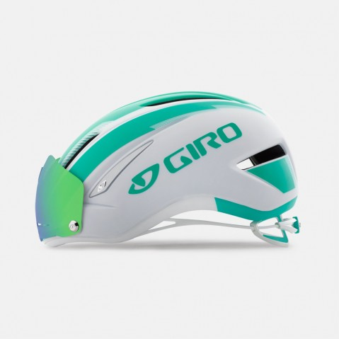 Giro Air Attack Shield Cycling Helmet | Matte White / Turquoise
